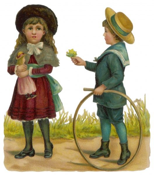 A boy in a sailor suit with a hoop and stick, offers flowers to a girl holding a doll