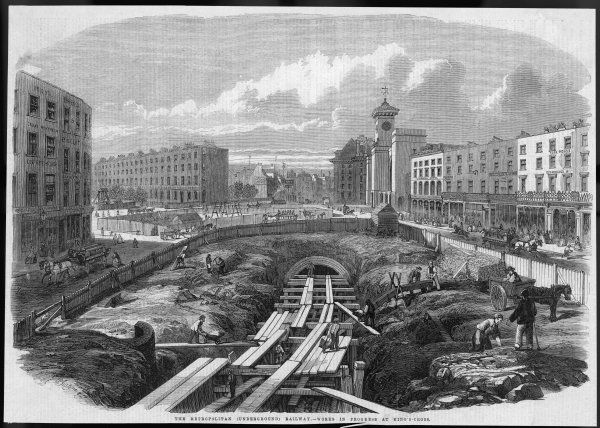 Construction work in progress on the world's first underground railway near King's Cross, Central London