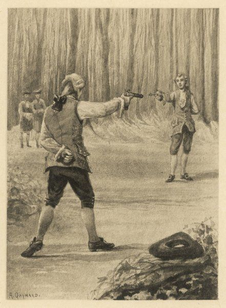 Giacomo Casanova (1725-1798) fights a duel with Branecki