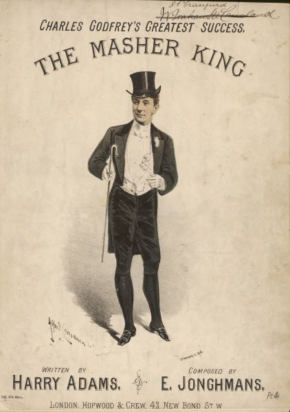 CHARLES GODFREY (1851-1900), music hall singer, seen here performing as The Masher King