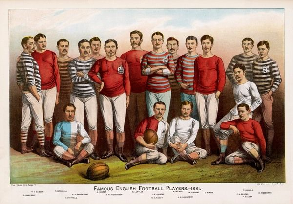 Leading England football players, wearing a variety of shirts, line up for a team picture