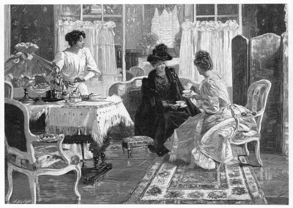 A lady entertains a visitor to afternoon tea in a lush interior. The maid stands ready to pour more tea or offer a plate of food