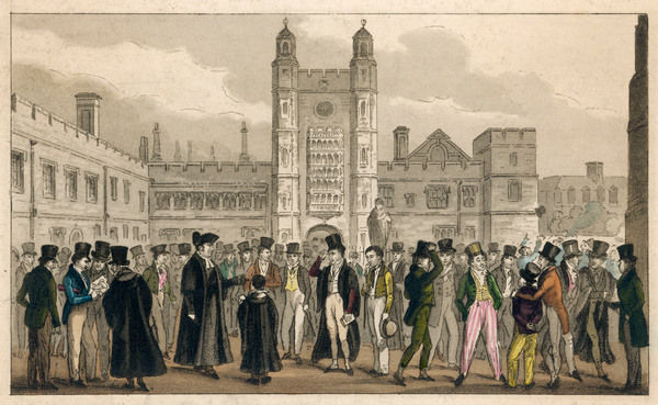 Scene with teachers and pupils in the courtyard of Eton College