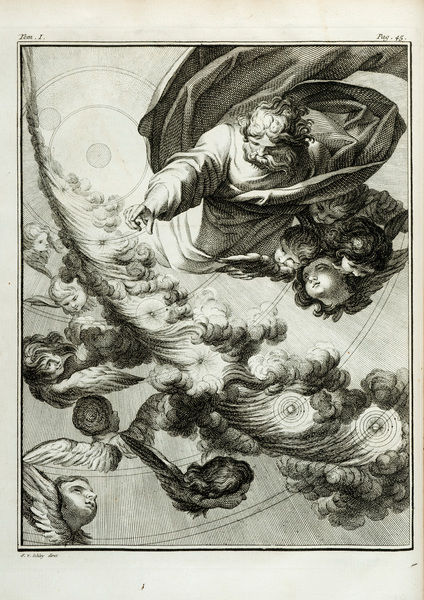 Formation of planets myth. Engraving by J