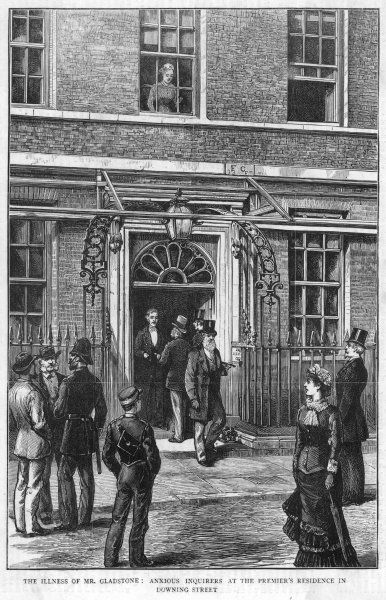 The scene at 10 Downing Street, Central London, as anxious enquirers wait for news of the condition of Prime Minister William Gladstone, recovering from a lung infection