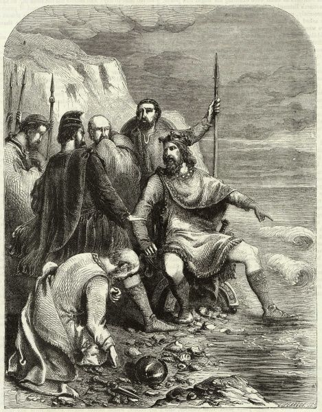 King Canute of England (1016-1035) and Denmark (1018-1035) gets his feet rather wet as he attempts to command the waves! The story may be apocryphal, and some historians believe that he staged the event to demonstrate to his sycophantic courtiers
