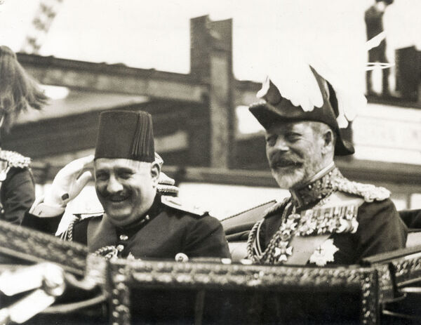 King Fuad of Egypt's Official 3-week visit to Great Britain - with King George V in an open carriage on their way from Victoria Station to Buckingham Palace, London on 4 July 1927 Date: circa 1920s