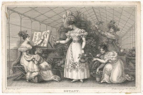 Four elegant ladies and a child in a large conservatory (or greenhouse). They are tending plants and one of them is consulting a large book