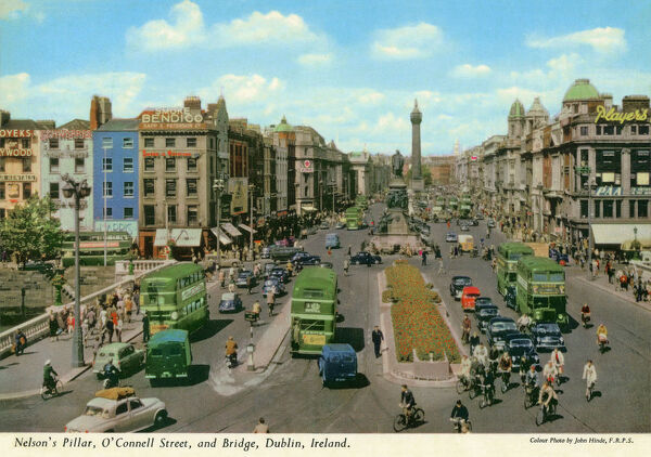 O'Connell St and Bridge showing Nelson's Pillar, Dublin