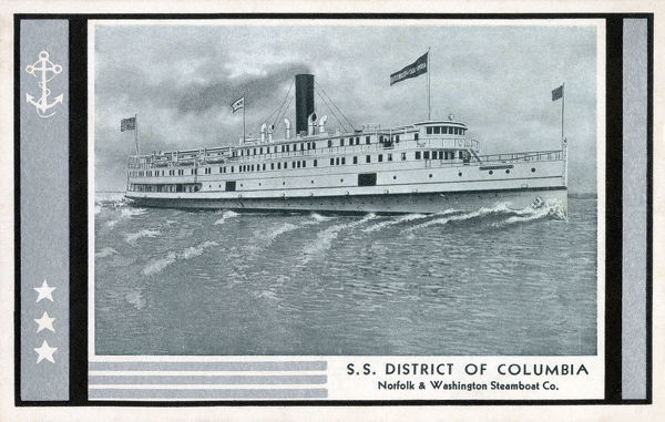 SS District of Columbia - Norfolk & Washington Steamboat Co. Date: circa 1920