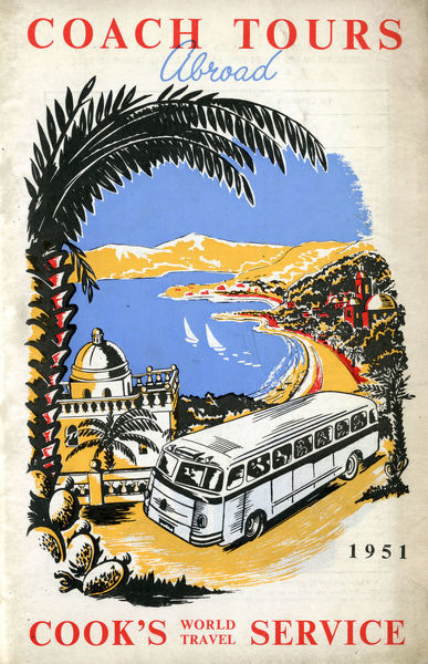 Thomas Cook Travel Brochure - Cover - Coach Tours Abroad.     1951