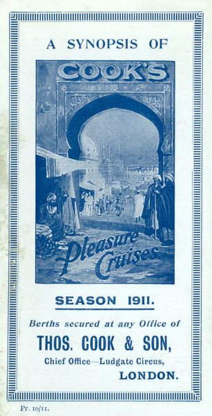 Thomas Cook Travel Brochure - Cover - Synopsis of Pleasure Cruises.     1911