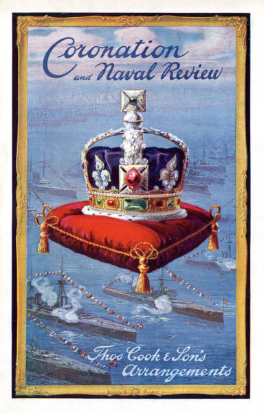Thomas Cook Travel Brochure - Cover - Coronation and Naval Review.     1953