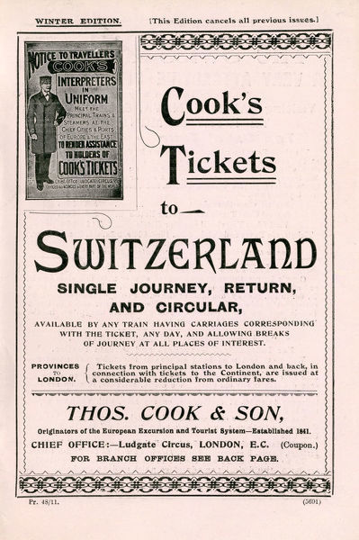 Thomas Cook Travel Brochure - Cover - Tickets to Switzerland, Single Journey, Return, and Circular.     late 19th century