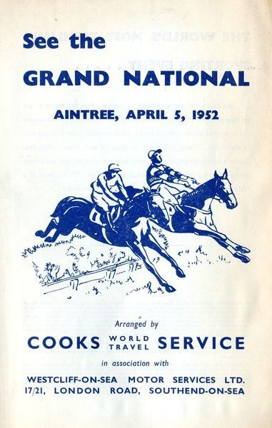 Thomas Cook Travel Brochure - Cover - See the Grand National, Aintree, 5 April 1952.     1952