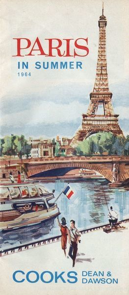 Thomas Cook Travel Brochure - Cover - Paris in Summer.     1964