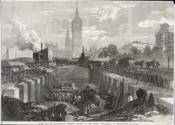 Underground railway works on the Thames Embankment, Central London