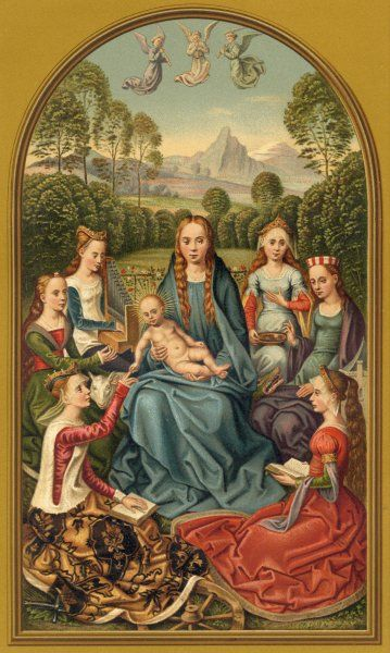 The Virgin Mary holding the Baby Jesus, surrounded by female saints, including Catherine, Lucy and Margaret. One of the other women is possibly the artist's patron or donor