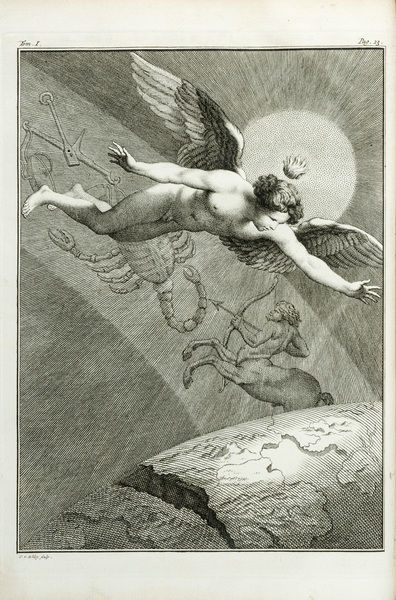 Zodiac with winged male, poss. Cupid/Eros. Engraving by J. vander Schley, from Pierre de Hondt, Histoire Naturelle generale et particuliere avec la description du Cabinet du Roy. Frontispiece to second discourse ('second discours'). Date
