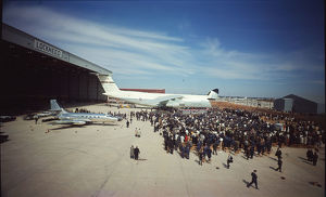 The first Lockheed C-5A Galaxy, 66-8303, is rolled out a?
