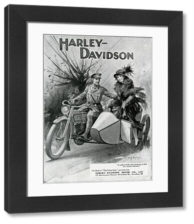 First world War advertisement for the Harley-Davidson motor company ltd showing an officer riding a motor cycle and gallantly helping a fashionably dressed lady into its sidecar. Date: 1915