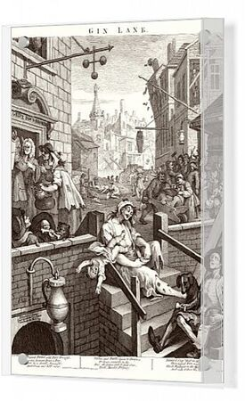 Political print of Gin Lane supporting a ministerial measure against the unlimited sale of gin. The pawnbrokers, gin cellar and distillery are now flourishing