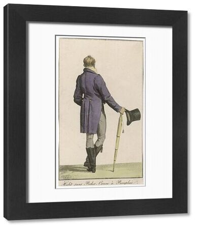 Purple cut-away coat (rear view), grey pantaloons, black hessian boots, umbrella, top hat. The high stand collar of his yellow & white striped waistcoat is just visible