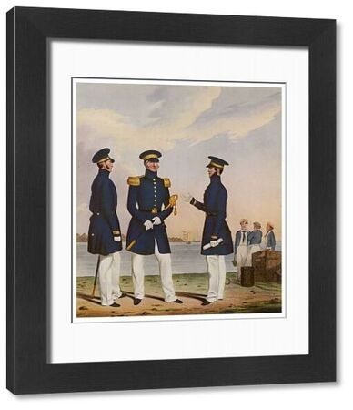 NAVAL OFFICERS 1830. A Captain, a Flag Officer and a Commander of the Royal Navy