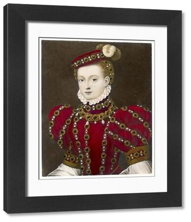 Mary, Queen of Scotland, in a striking red costume