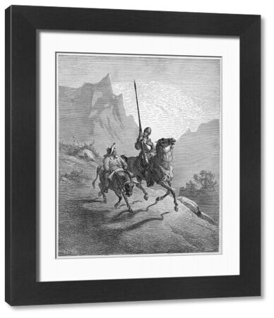 A scene from Cervantes' novel Don Quixote -- the hero of the title rides with his companion Sancho Panza along a mountain pass