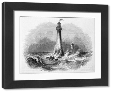 View of Skerryvore Lighthouse, off the west coast of Scotland, completed in 1844. Seen here with a typically rough sea