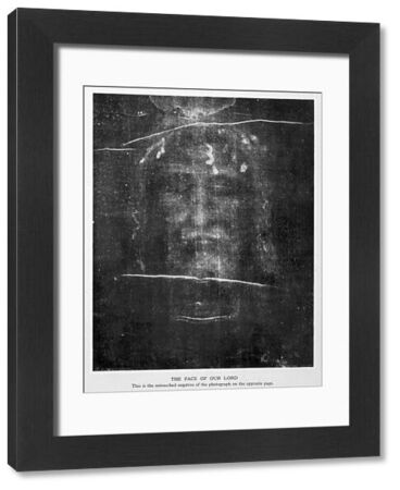 Part of the first photograph of the Shroud, showing the face : the image is revealed more strongly in the negative