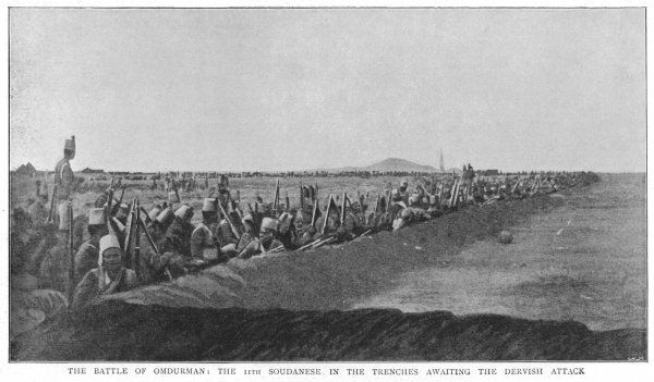 Battle of Omdurman; the 11th Soudanese in the trenches awaiting the Dervish attack Date: 2nd September 1898