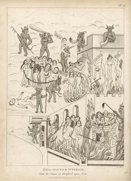 A medieval conception of Hell, with the sinners being rounded up and punished in various unpleasant ways