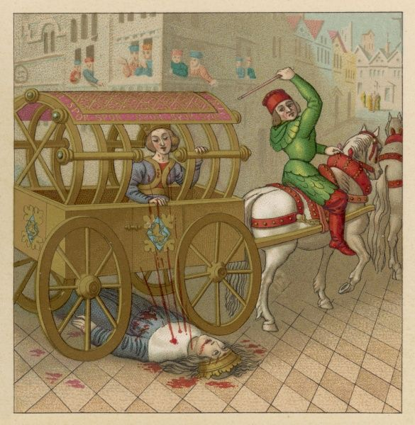 A French queen travelling through the streets in her carriage : unfortunately, the king seems to have met with some kind of accident