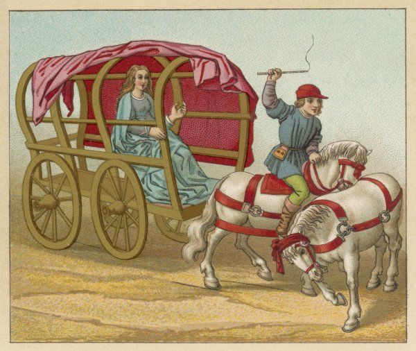 A French noblewoman rides in a rather primitive and probably very uncomfortable carriage