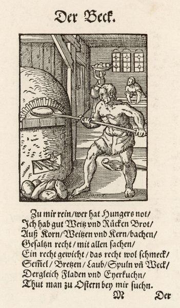 16C BAKER & FURNACE. A 16th century baker loading his furnace with loaves