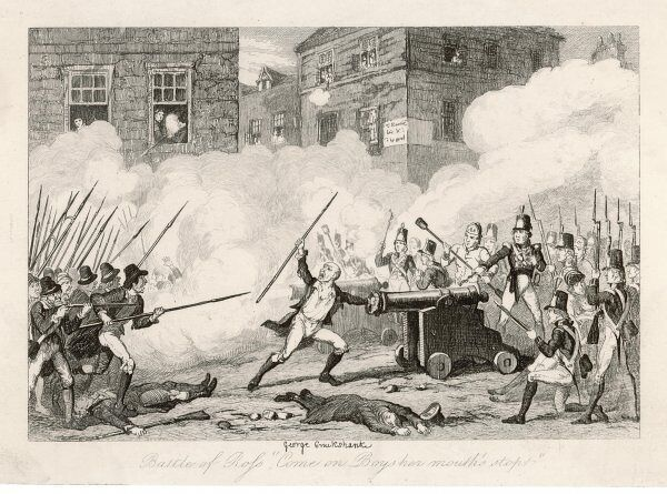"'Battle of Ross,""Come on Boys her mouth's stopt""': rebels with pikes fight soldiers with rifles and cannon"