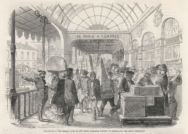 1851/SETTING UP. SETTING UP French goods being transported to the Great Exhibition