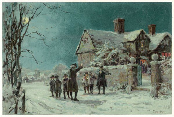 The village choirmaster, with a group of boys and a man with a fiddle, sing carols in the village street