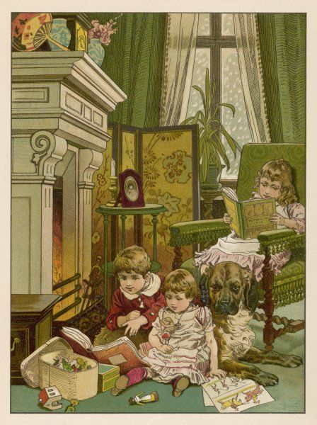 A boy, two girls and their dog sit by the fireside with all their playthings