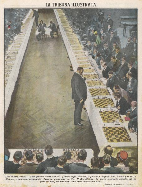 Playing fifty games of chess simultaneously. Bogoljubow wins forty games, loses two and draws eight to Aljechin at Monaco