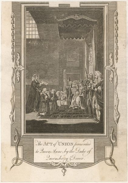 Act of Union 1707. The Act of Union presented to Queen Anne, by the Duke of Queensbury