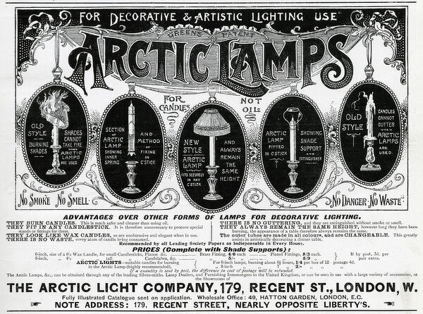 Advert for Arctic Lamps 1898
