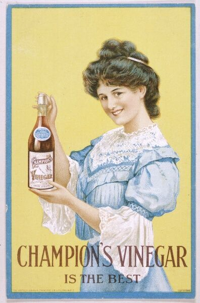Smiley girl advertises Champion's vinegar