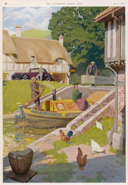 ADVERT FOR DUNLOP. An idyllic canal scene in rural England