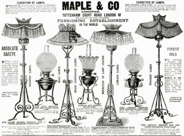 Advert for Maple & Co. lamps 1892