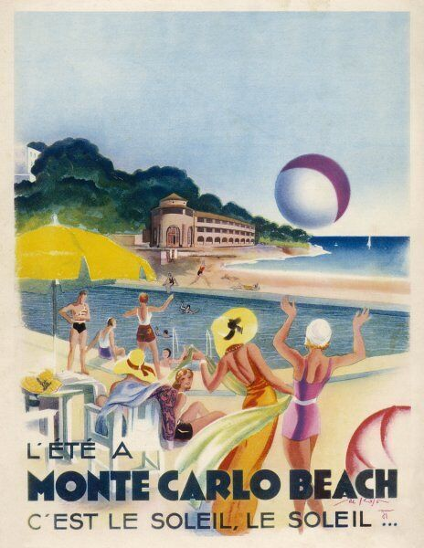 Advertisement promoting Monte Carlo beach