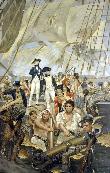 Admiral Nelson and Captain Hardy during Trafalgar
