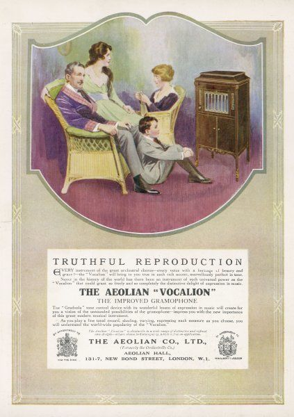 AEOLIAN VOCALION. 'Truthful Reproduction' - the Aeolian 'Vocalion' delights the family
